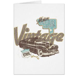 ヴィンテージ車の~クラシックな車の巡航夜伝説 グリーティングカード