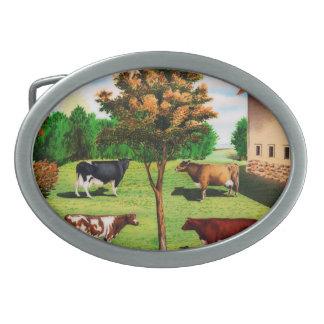 ヴィンテージ農場の典型的な牛品種 卵形バックル