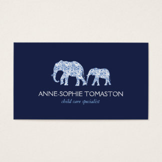 ヴィンテージ青くパターン(の模様が)あるな象の育児 名刺