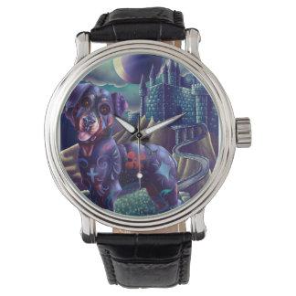 ヴィンテージ革バンドの腕時計Roxyロットワイラー 腕時計