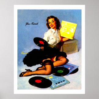 ヴィンテージ音楽は女の子の上のPinを記録します ポスター
