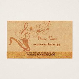 ヴィンテージ音楽サクソフォーンの角の楽器 名刺
