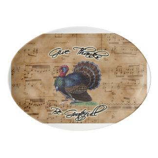 ヴィンテージ音楽シートの感謝祭トルコ 磁器大皿