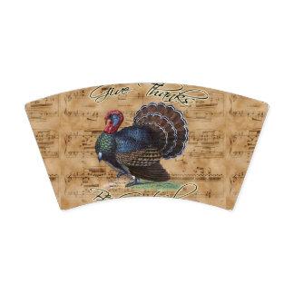 ヴィンテージ音楽シートの感謝祭トルコ 紙コップ
