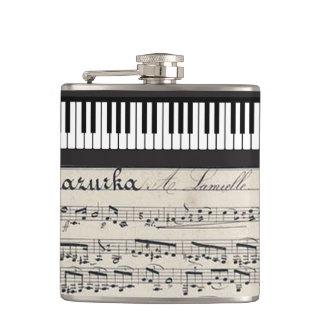 ヴィンテージ音楽シートはピアノキーボードパターンに注意します フラスク