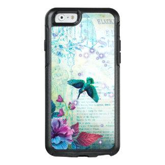 ヴィンテージ音楽ハチドリのラベンダーのティール(緑がかった色)の藤色の青 オッターボックスiPhone 6/6Sケース