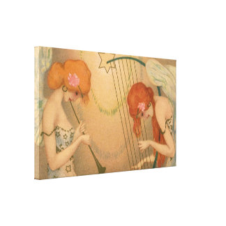 ヴィンテージ音楽ビクトリアンな天使のミュージシャンのフルートのハープ キャンバスプリント