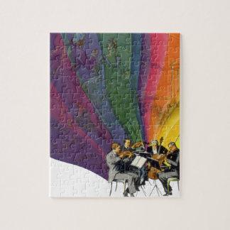 ヴィンテージ音楽虹、ビクトリアンなカップルの踊り ジグソーパズル