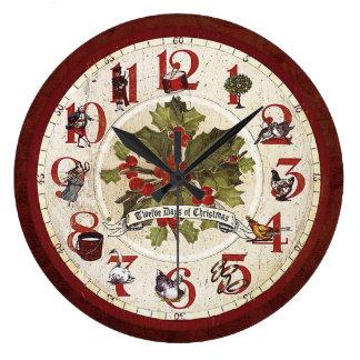 ヴィンテージ12日のクリスマス ラージ壁時計