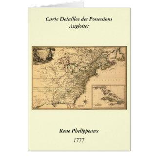 ヴィンテージ1777のPhelippeaux著アメリカのコロニーの地図 カード