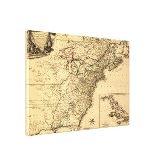 ヴィンテージ1777のPhelippeaux著アメリカのコロニーの地図 キャンバスプリント
