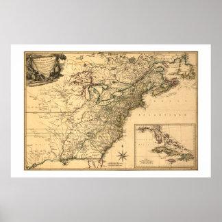 ヴィンテージ1777のPhelippeaux著アメリカのコロニーの地図 ポスター