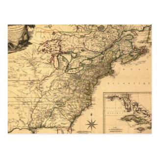 ヴィンテージ1777のPhelippeaux著アメリカのコロニーの地図 ポストカード