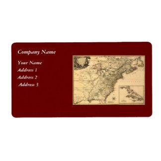 ヴィンテージ1777のPhelippeaux著アメリカのコロニーの地図 ラベル