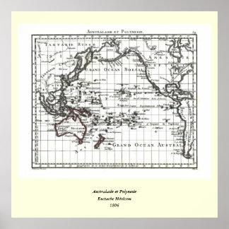 ヴィンテージ1806の地図- AustralasieとPolynesie ポスター