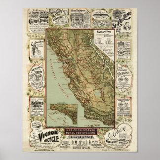ヴィンテージ1895年のカリフォルニア自転車のサイクリングの地図 ポスター