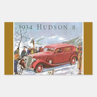 ヴィンテージ1934年のハドソン8つの自動車ステッカー 長方形シール
