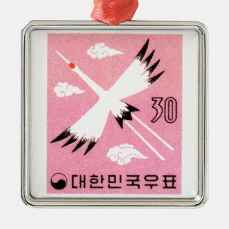 ヴィンテージ1960年の韓国によって赤戴冠させるクレーン切手 メタルオーナメント