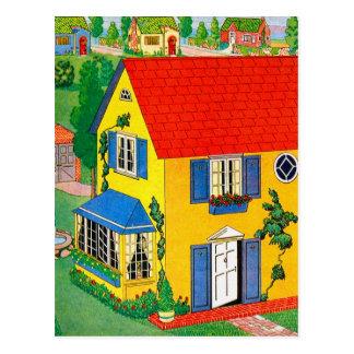ヴィンテージ20sのおもちゃの家の人形の家のイラストレーション ポストカード