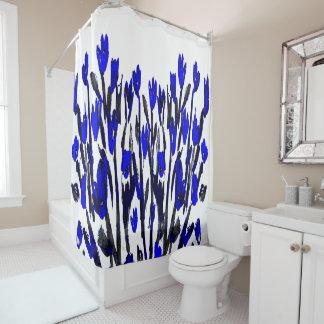 ヴィンテージ20sの青い花柄 シャワーカーテン