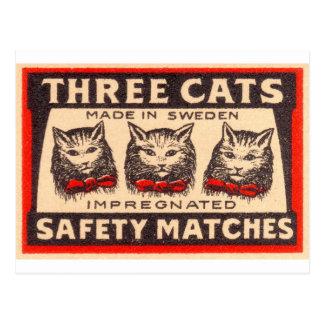 ヴィンテージ3つの猫の安全マッチ ポストカード