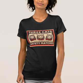 ヴィンテージ3つの猫の安全マッチ Tシャツ
