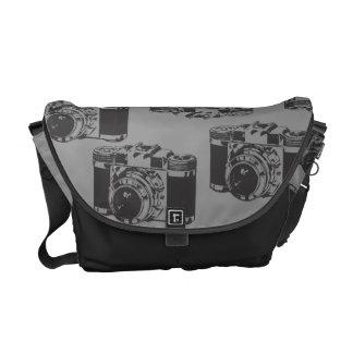 ヴィンテージ カメラ 黒 灰色 人力車 メッセンジャー 袋