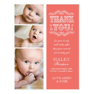 ヴィンテージ サケ 3 写真 赤ん坊 感謝していして下さい ポスト カード