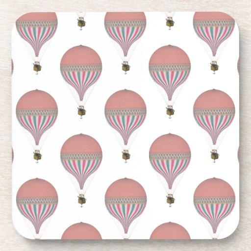 ヴィンテージ|ピンク、|ライト|青い|熱い|空気|気球 コースター