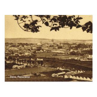 ヴィンテージ、フランス、Sensのパノラマ ポストカード