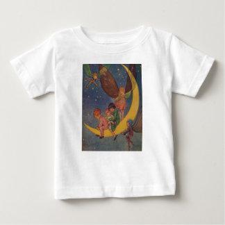 ヴィンテージ-子供及び妖精は月に乗ります、 ベビーTシャツ
