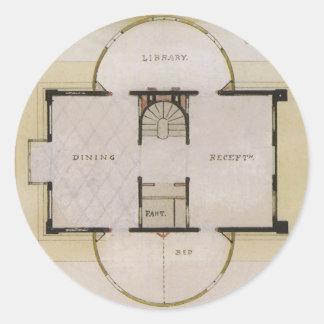 ヴィンテージ 建築、 ギリシャ語 別荘 床 計画 丸形シール・ステッカー