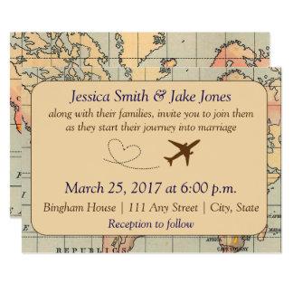 ヴィンテージ、旅行テーマの結婚式の招待 カード