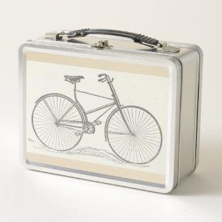 ヴィンテージ、旧式の自転車の描写 メタルランチボックス