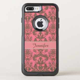 ヴィンテージ、淡い色のなバイオレットの赤及び砂の茶色のダマスク織の名前 オッターボックスコミューターiPhone 8 PLUS/7 PLUSケース