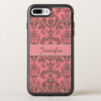 ヴィンテージ、淡い色のなバイオレットの赤及び砂の茶色のダマスク織の名前 オッターボックスシンメトリーiPhone 8 PLUS/7 PLUSケース