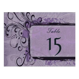 ヴィンテージ|華麗さ|紫色|テーブル|数|郵便はがき ポストカード