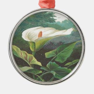 ヴィンテージ、豪華な白い花 メタルオーナメント