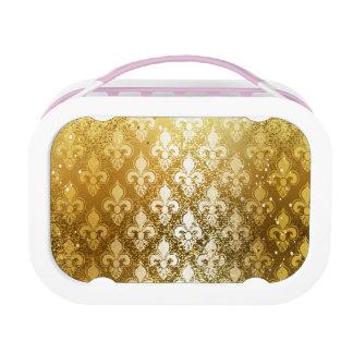 ヴィンテージ、金ゴールド、(紋章の)フラ・ダ・リ、アンティーク、ヴィンテージ、上品、おもしろい ランチボックス