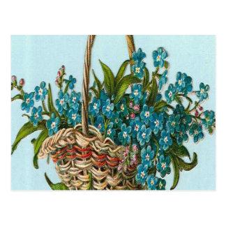 ヴィンテージ、青い花のバスケット ポストカード