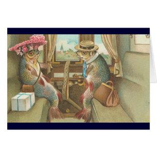 ヴィンテージ- Fish Go Traveling氏及び夫人 カード