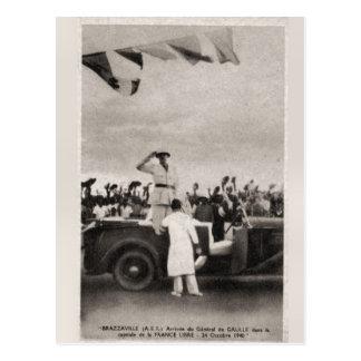 ヴィンテージ、General De Gaulle、Brazzervillの到着 ポストカード