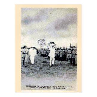 ヴィンテージ、General De Gaulle、Brazzervilleの到着 ポストカード