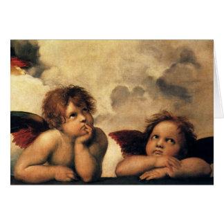 ヴィンテージChristmansのRaphaelによるルネサンスの天使 カード