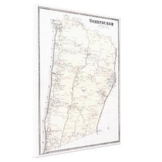 ヴィンテージGreenburghおよびWestchester NYの地図(1867年) キャンバスプリント