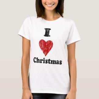ヴィンテージIのハートのクリスマスのワイシャツ Tシャツ