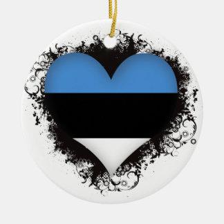 ヴィンテージI愛エストニア 陶器製丸型オーナメント