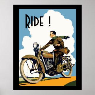 ヴィンテージMortorcycle -乗車! ポスター