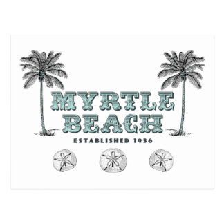 ヴィンテージMyrtle Beachサウスカロライナ米国東部標準時刻1938年 ポストカード