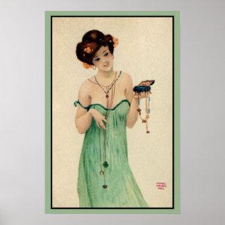 ヴィンテージRaphael Kirchnerパリ1910の女性ファッション ポスター